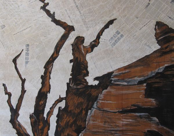 Burnt Charcoal And Collage 95 X 120 Cm 2009 R2000