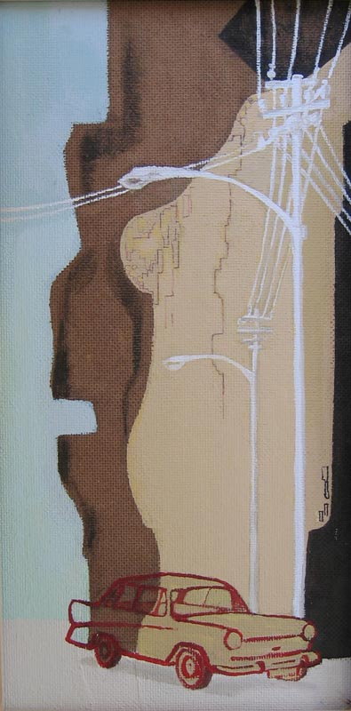 Parked, Acrylic On Board 400 X 20 Cm 2003