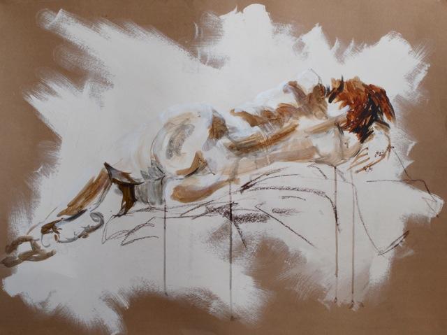 Deep Sleep Acrylic And Pastel On Paper 77 X 100 Cm