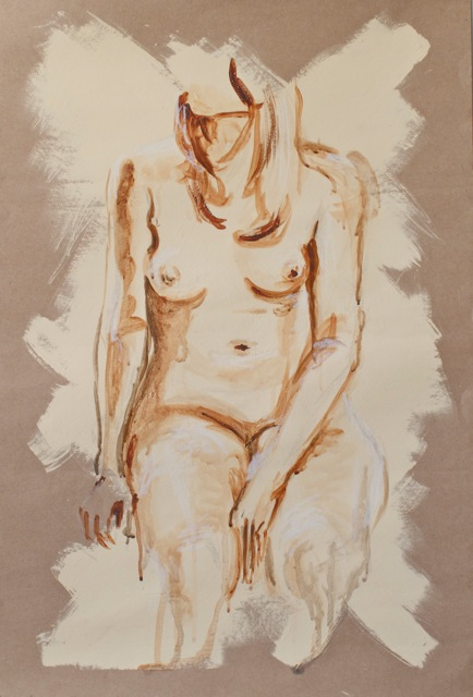 Sitting Pretty Acrylic On Paper 76 X 50 Cm