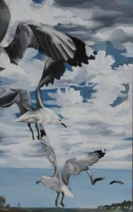 Sea Point Gulls Acrylic On Board 40 X 26cm R1000